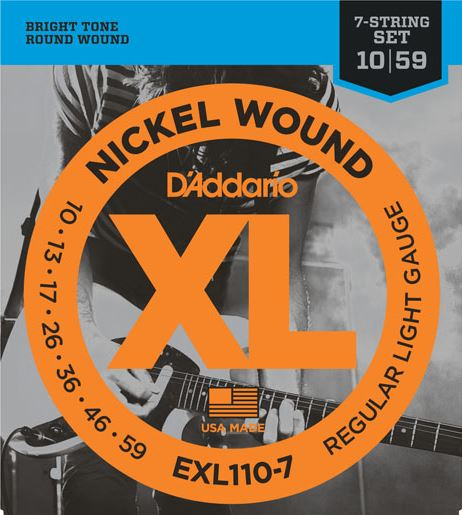 d 39 addario exl110 7 nickel wound regular light gauge 7 string electric guitar strings 10 59. Black Bedroom Furniture Sets. Home Design Ideas