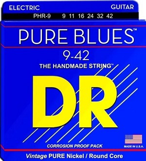 DR PHR-9 Pure Blues Pure Nickel Light Gauge Electric Guitar Strings