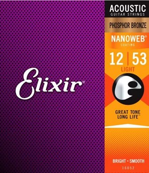 Elixer 16052 Light Gauge Phosphor Bronze NANOWEB Coating Acoustic Guitar Strings