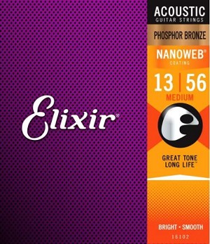 Elixir 16102 Medium Gauge Phosphor Bronze NANOWEB Coating Acoustic Guitar Strings